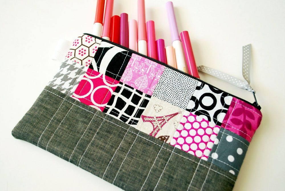 Long Patchwork and Quilted Pouch - Pink, Black and Gray with Dark Gray Linen. $22.00, via Etsy.
