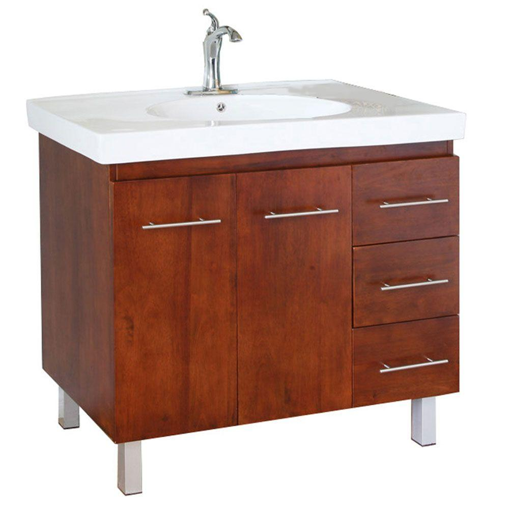 Bellaterra Home Midlands W 40 In Single Vanity In Walnut With
