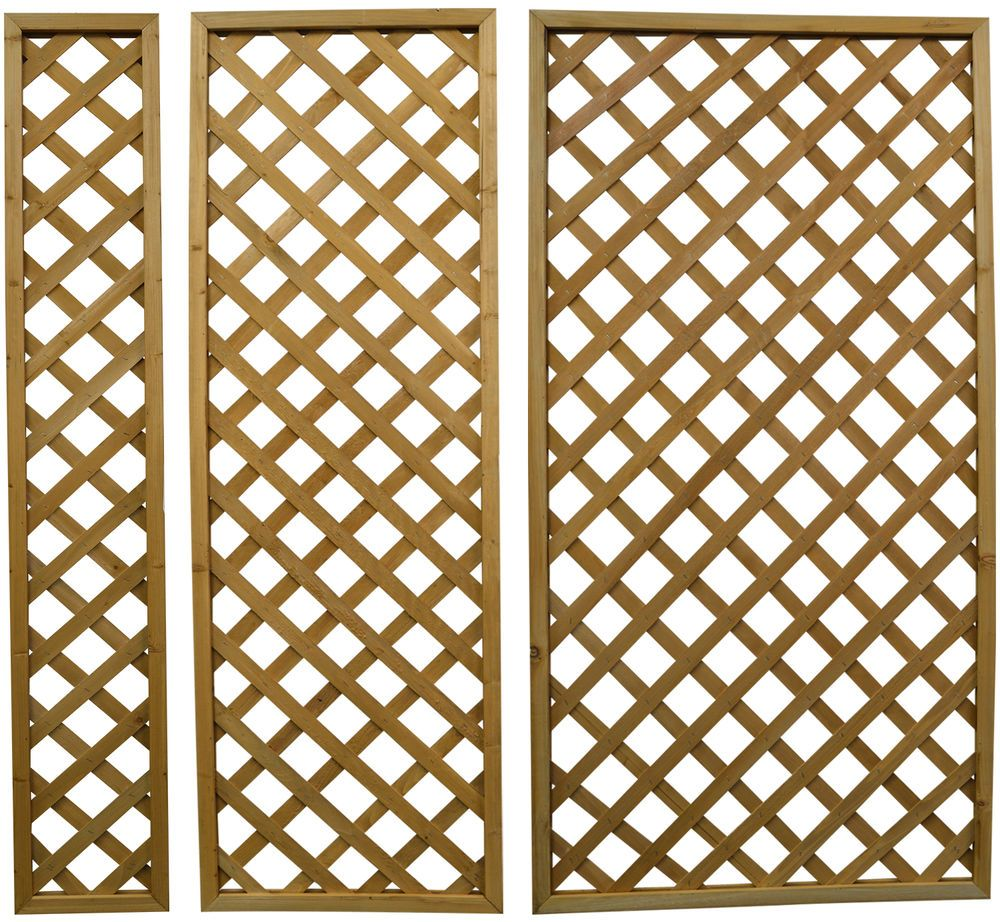 Woodside Wooden Outdoor 180cm Lattice Pattern Garden Trellis Fence