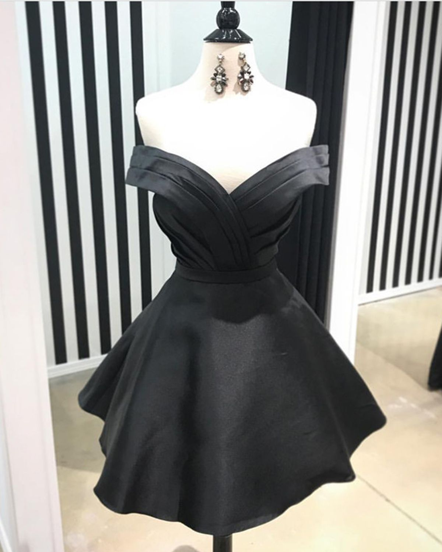 Cute off shoulder v neck little black dress short party