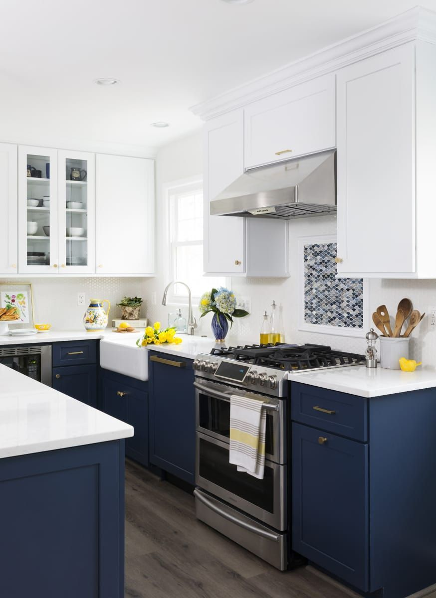 Petrol Blue And White Kitchen Cabinets Novocom Top