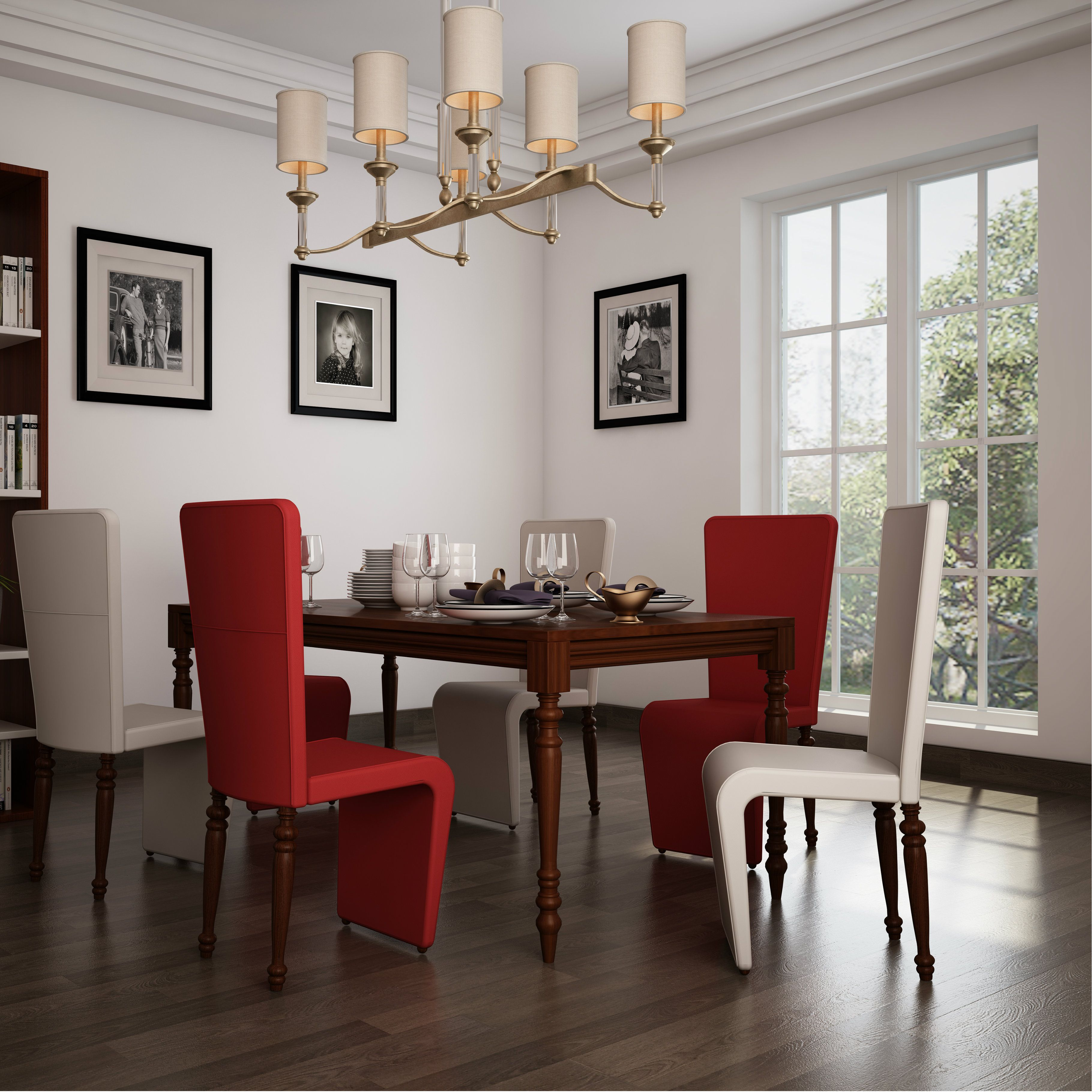 Small Indianhome Design: Red And White Dining Chairs To Break The Monotonous White