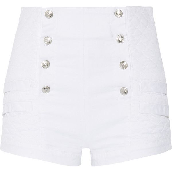 Pierre Balmain Button-detailed quilted stretch-denim shorts (€475) ❤ liked on Polyvore featuring shorts, bottoms, white, stretch denim shorts, zipper shorts, highwaisted shorts, high waisted button shorts and white high waisted shorts