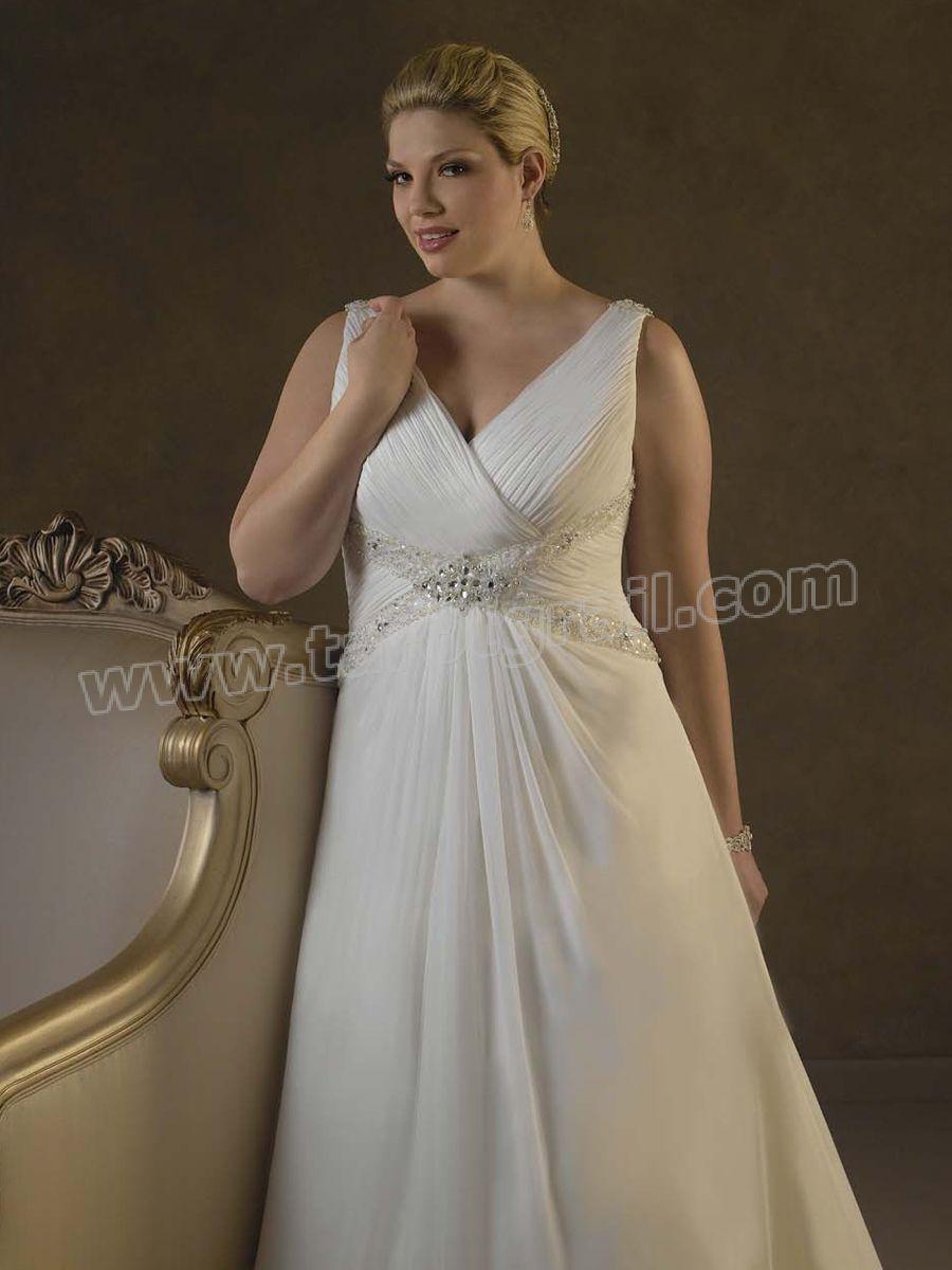Chiffon V Neck A Line Plus Size Wedding Dress Wedding Dresses