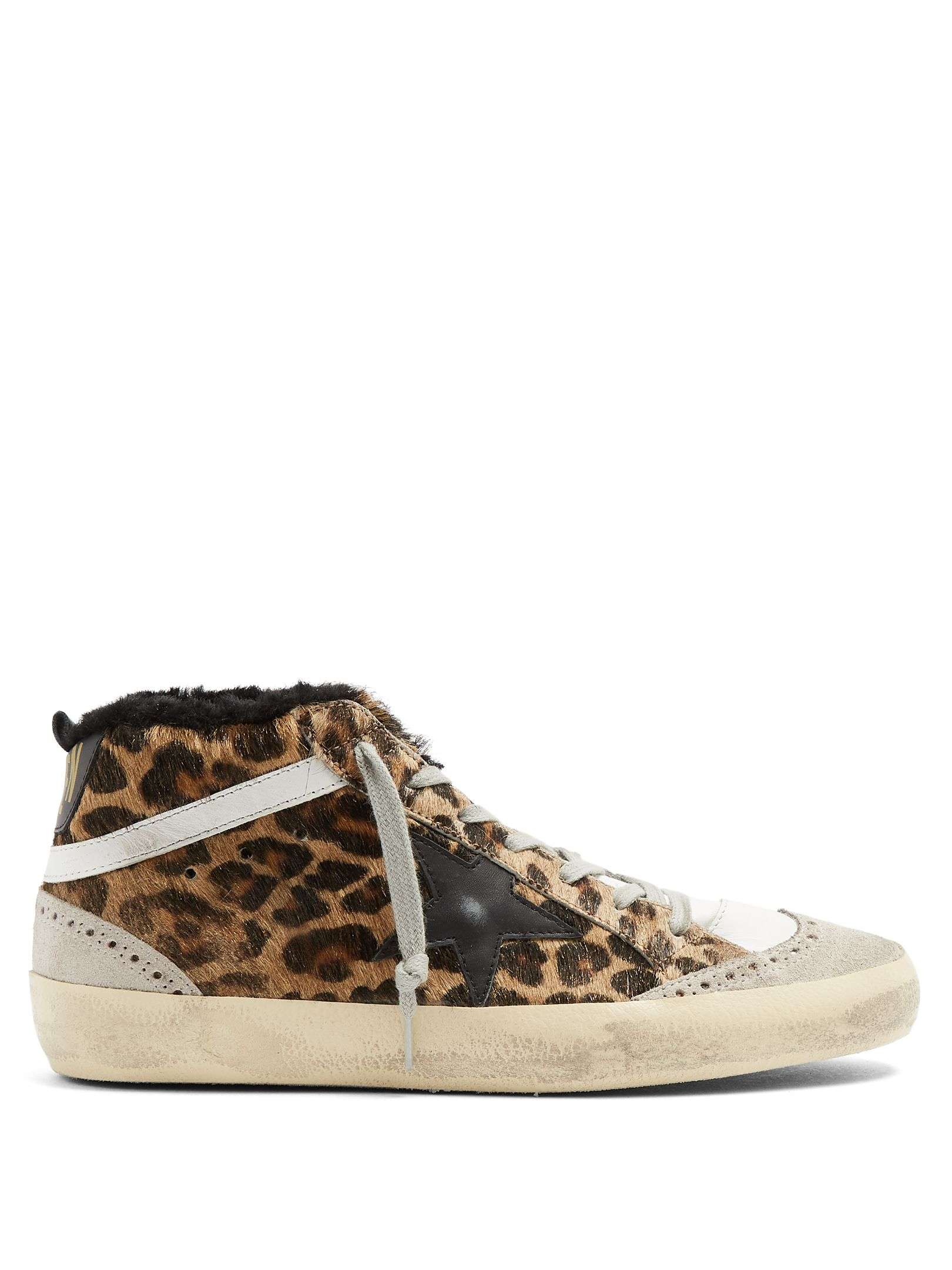 Golden Goose Mid Star Leopard Print Shearling Lined Trainers Goldengoose Cloth Calca