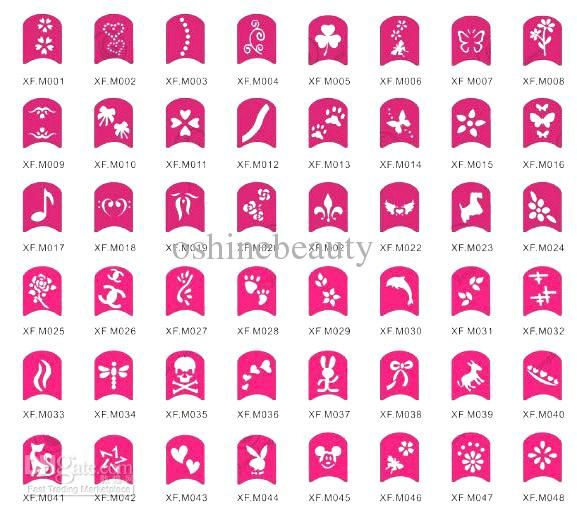 Nail Art Hollow Template Tattoo Stickers 48 Designs Available Easy Diy With Colorful Polish Online