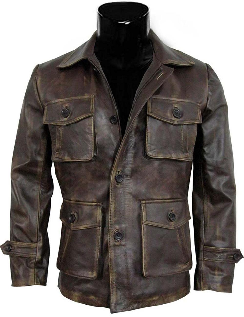 Handmade Men S Leather Jacket Expendables 2 Jason Style Distressed Look On Luulla Distressed Leather Jacket Leather Jacket Leather Jacket Men [ 1300 x 1000 Pixel ]