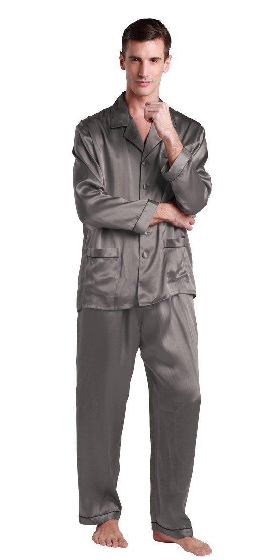 6c554a3786 Lilysilk Long Silk Pajamas Set Men 22 Momme Contrast Trim 100% Pure Silk  Dark Gray - XXL 44-46