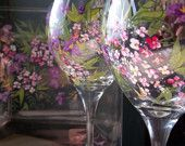 Next Day Shipping ROMANTIC GARDEN 2 Champagne Flutes & Plate Handpainted. $35.00, via Etsy.