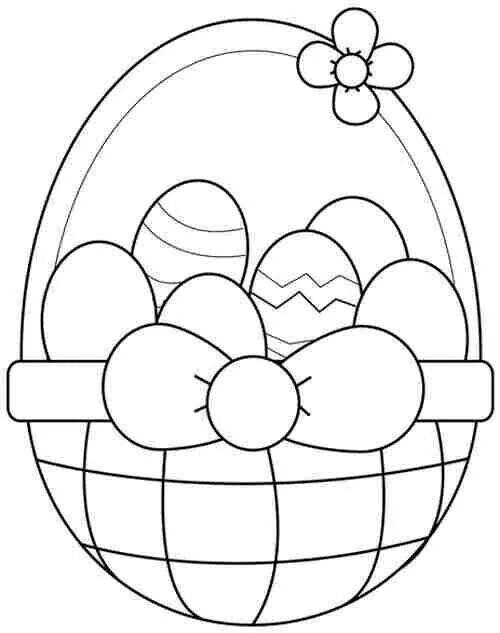 Basket Cookies Easter Colors Easter Coloring Pages Easter Colouring
