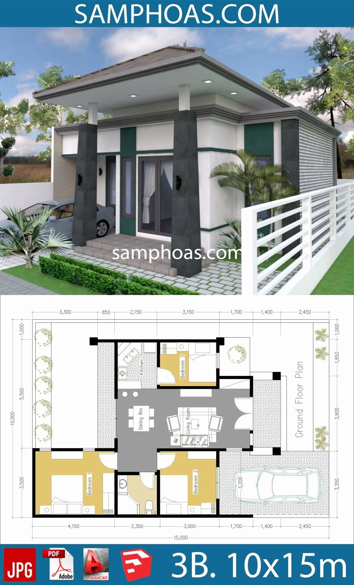 150 000 House Plans New E Story House With 3 Bedroom 10x15m Modern Lake House Story House Lake House Plans