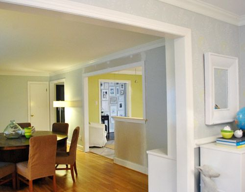 How To Trim Out A Cased Opening And A Half Wall Magnolia Living Room Half Walls Open Dining Room
