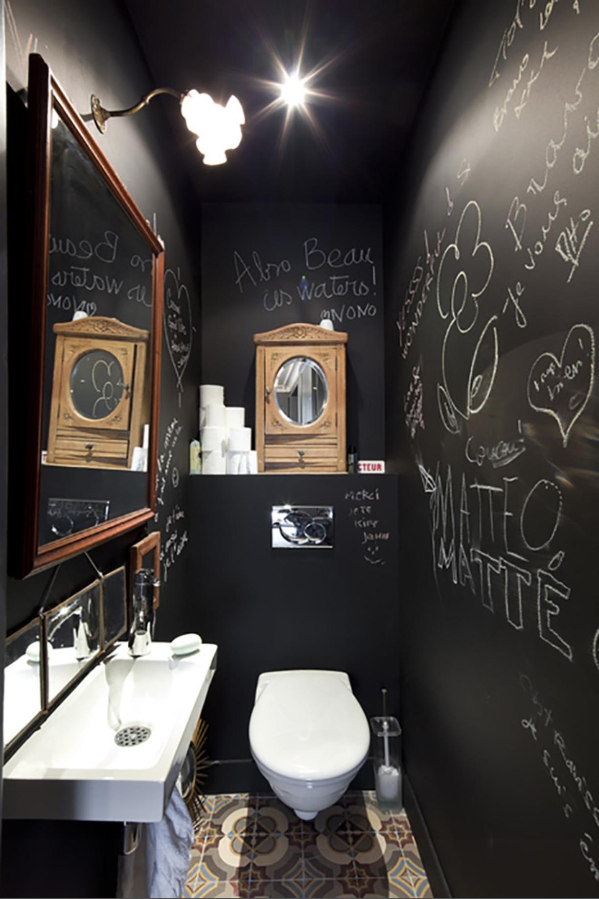 5m2 bad ideen black chalk bathroom  toilet  pinterest  toilettes deco et wc noir