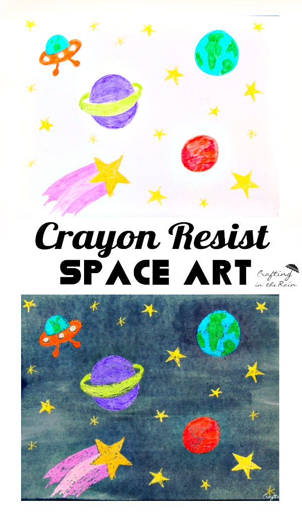 Crayon Resist Space Art - The Crafting Chicks