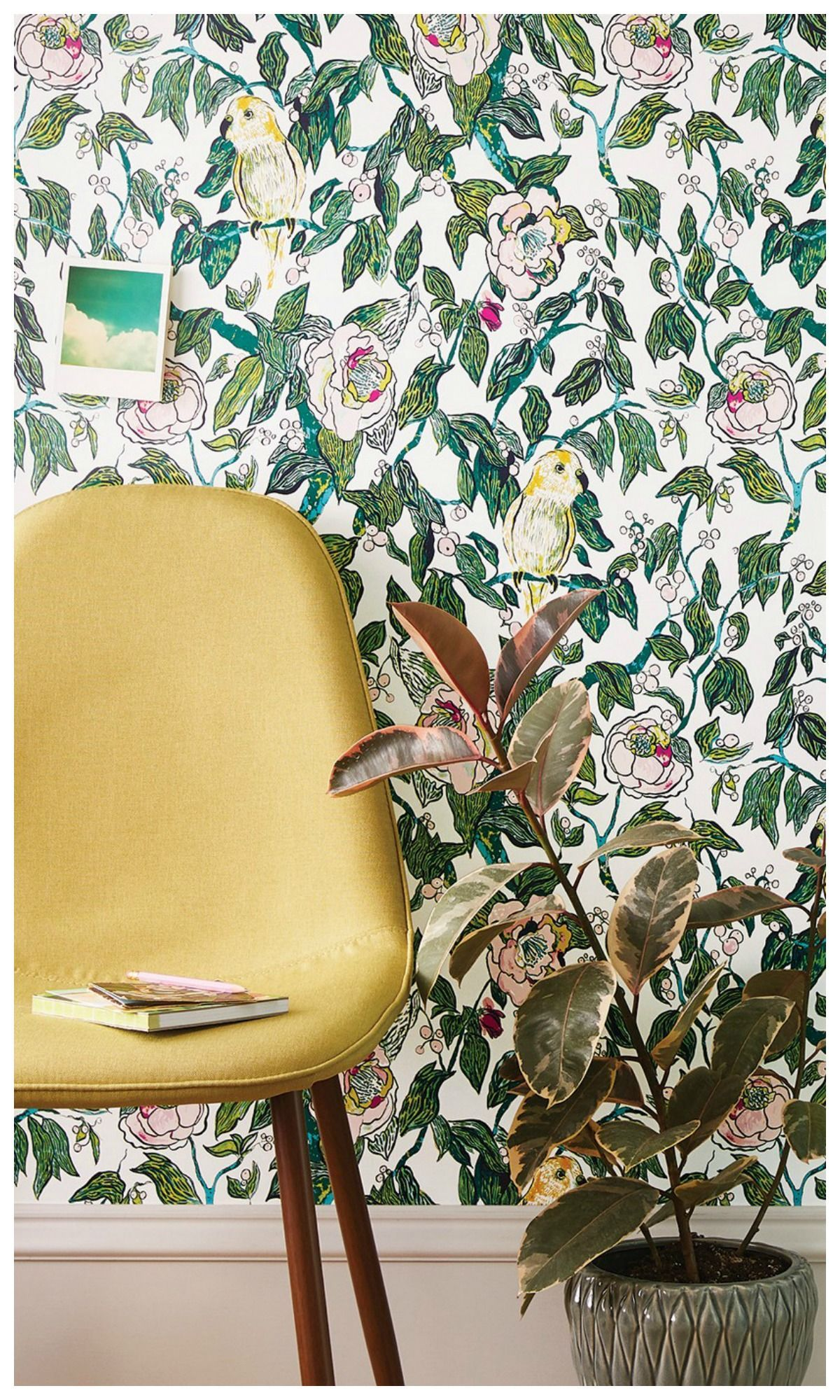 Obsessing Over This New Line Opalhouse Canary Floral Peel Stick Removable Wallpaper Livingroom Affili Modern Floral Wallpaper Home Decor Target Home Decor