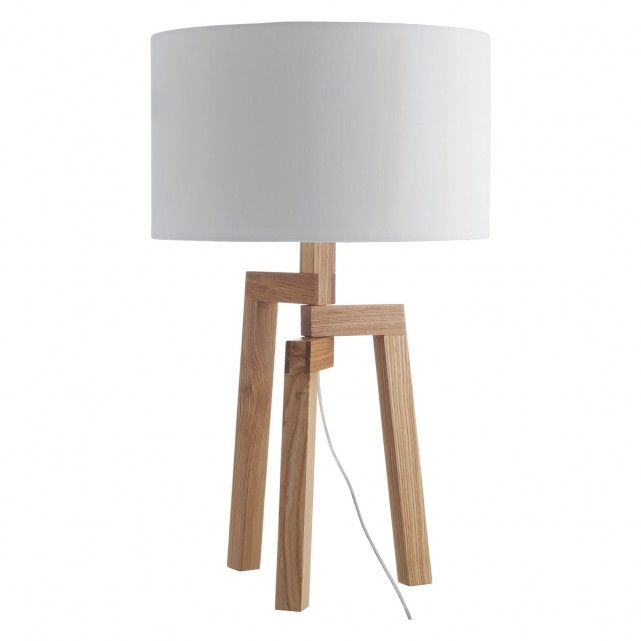 Dylan Ash Wood Table Lamp With White Fabric Shade 45 Lamp Table Lamp Wood Fabric Shades