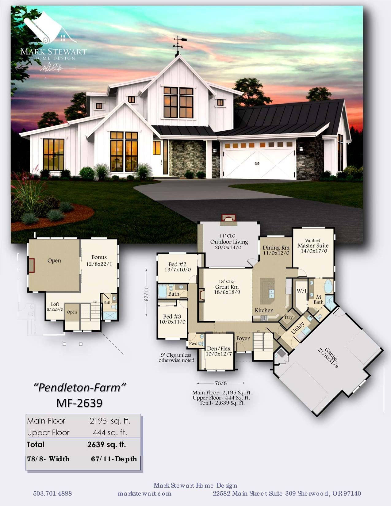 Pendleton By Mark Stewart Home Design Mark Stewart Home Design Is On The Leading Edge Of The Recent Rustic House Plans Farmhouse Style House Farmhouse Plans