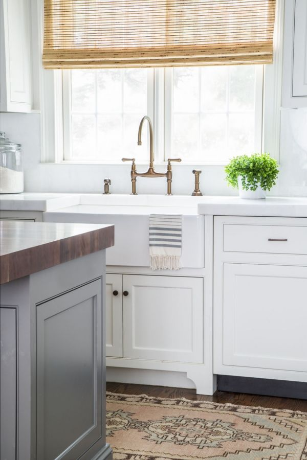 Best White Kitchen Gray Island Bamboo Shades Blue And White 400 x 300
