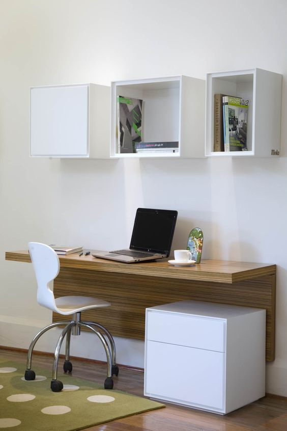Modern Study Space With A Wall Mounted Desk And Open Box Shelves Office Desk Designs Home Office Design Desk Design
