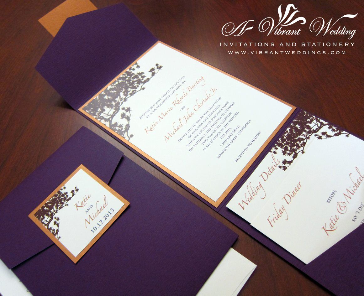 Purple and Orange Wedding Invitation – Pocketfold – Fall theme with ...