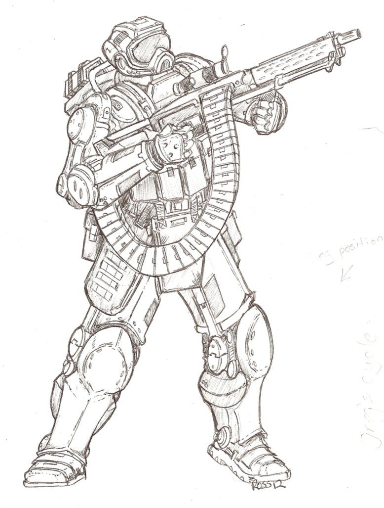 Another power armor drawing. by TheMuffinKingXxX on