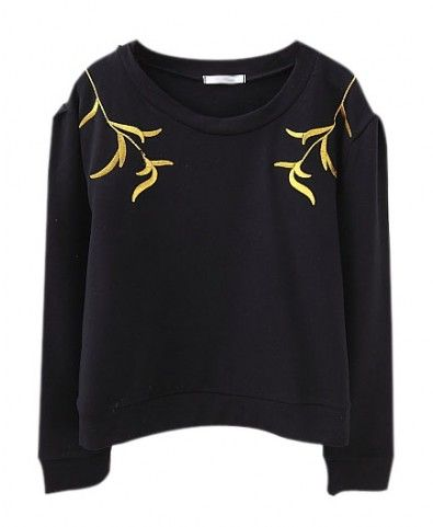 Gold Leaves Embroidery Patterns Cotton Sweatshirt