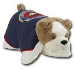 USMC Pillow Pet $39.95. plush blue fabric with full color USMC emblem embroidered on its back and red piping. It starts out as a play pal and when you un-velcro its belly, it quickly becomes a pillow. Machine Washable on Gentle Cycle. Not Recommended for the Dryer. This item qualifies for FREE STANDARD SHIPPING!