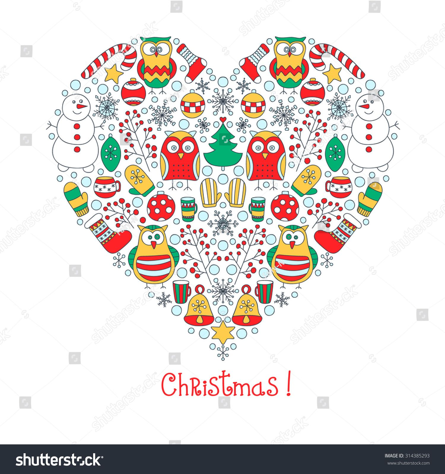 Christmas Heart Vector.Christmas Heart Vector Hand Drawn Heart With Doodle Winter