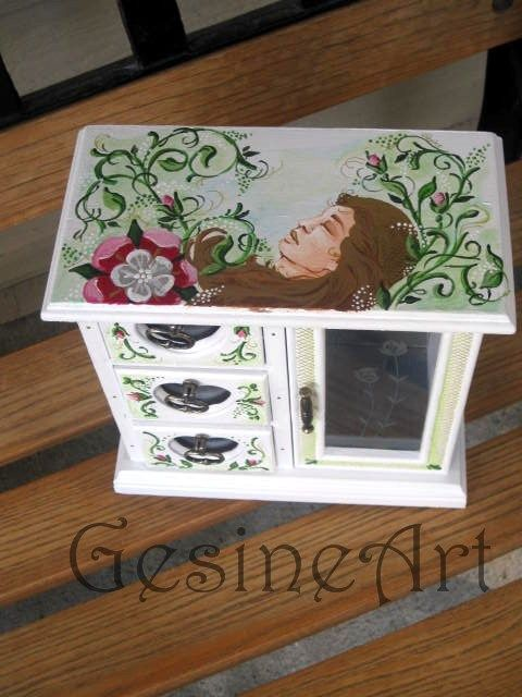 Adorable hand painted vintage style jewelry box called sleeping