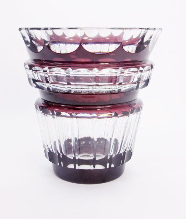 Signed Val St Lambert Ruby Crystal Vase Art Deco Glass