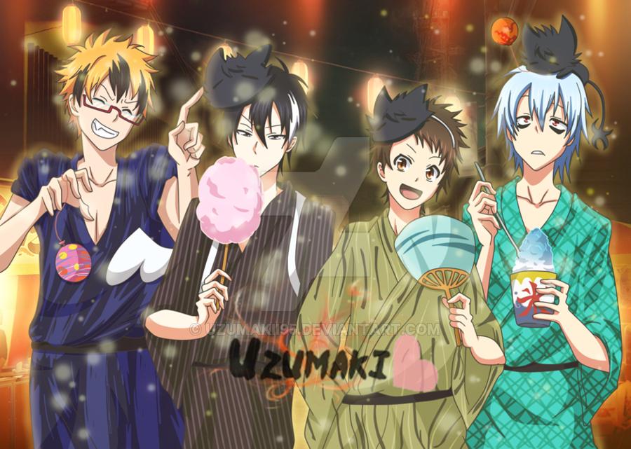Uzumaki....Lawless, Licht, Mahiru, & Kuro @ a festival// SERVAMP_deviantart