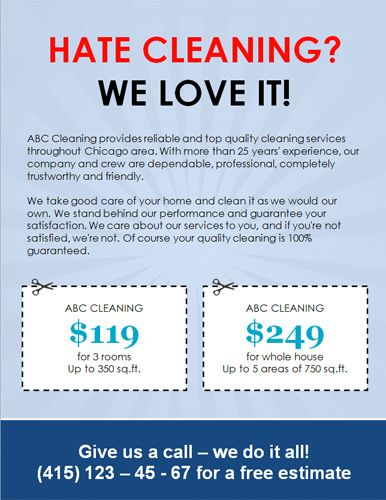 We Love Cleaning House Cleaning Flyer Template with Two Coupons