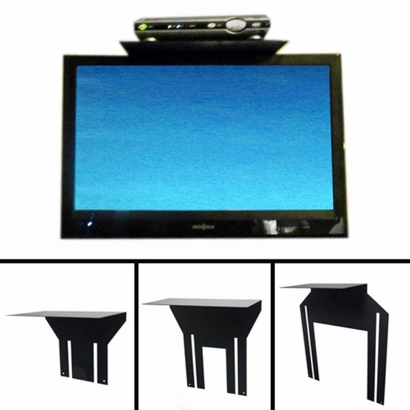 Top Mount Flat Screen Tv Shelf For Cable Box Hides Wires