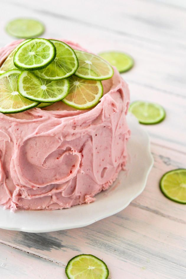 Strawberry Limeade Cake by foodfanatic: Made with sweet strawberries and cream cheese in the frosting. Heavenly. #Cake #Strawberry #Lime