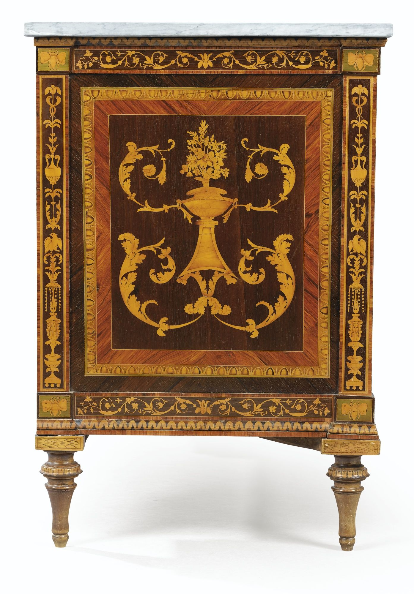 AN ITALIAN MARQUETRY COMMODE, LATE 18TH CENTURY, WORKSHOP OF GIUSEPPE  MAGGIOLINI (1738