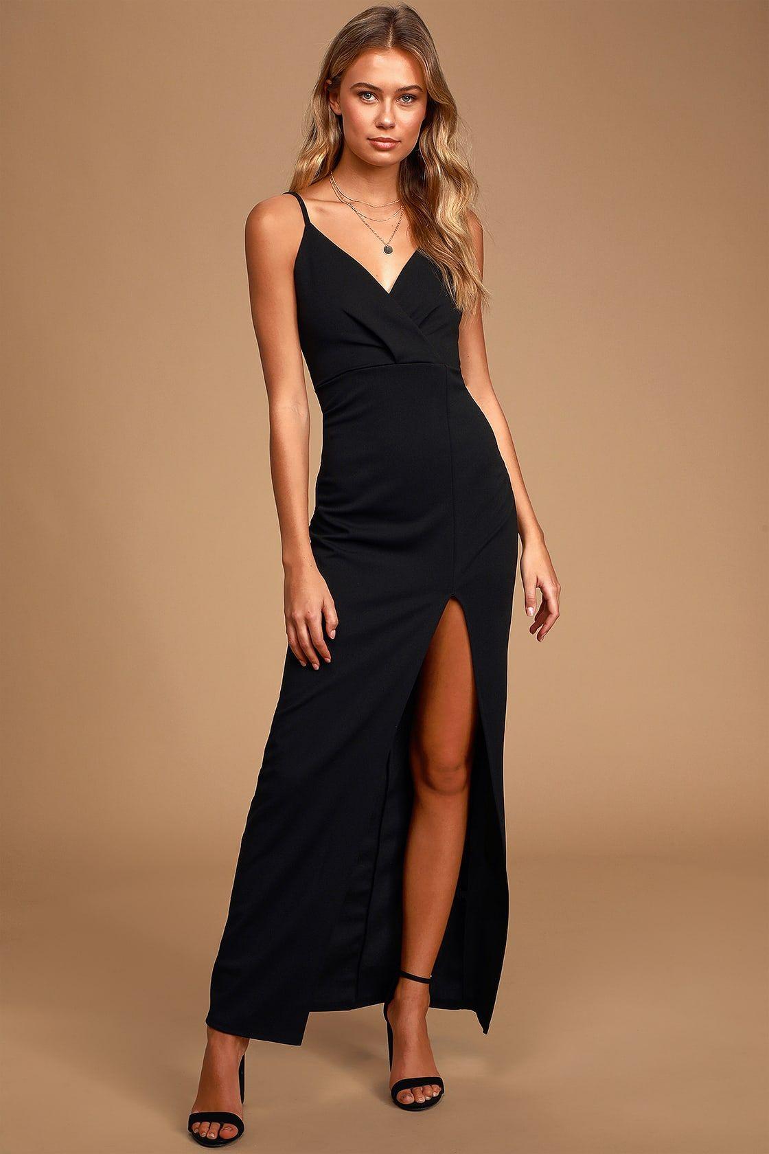 Elegant black dress maxi dress lace dress sleeveless