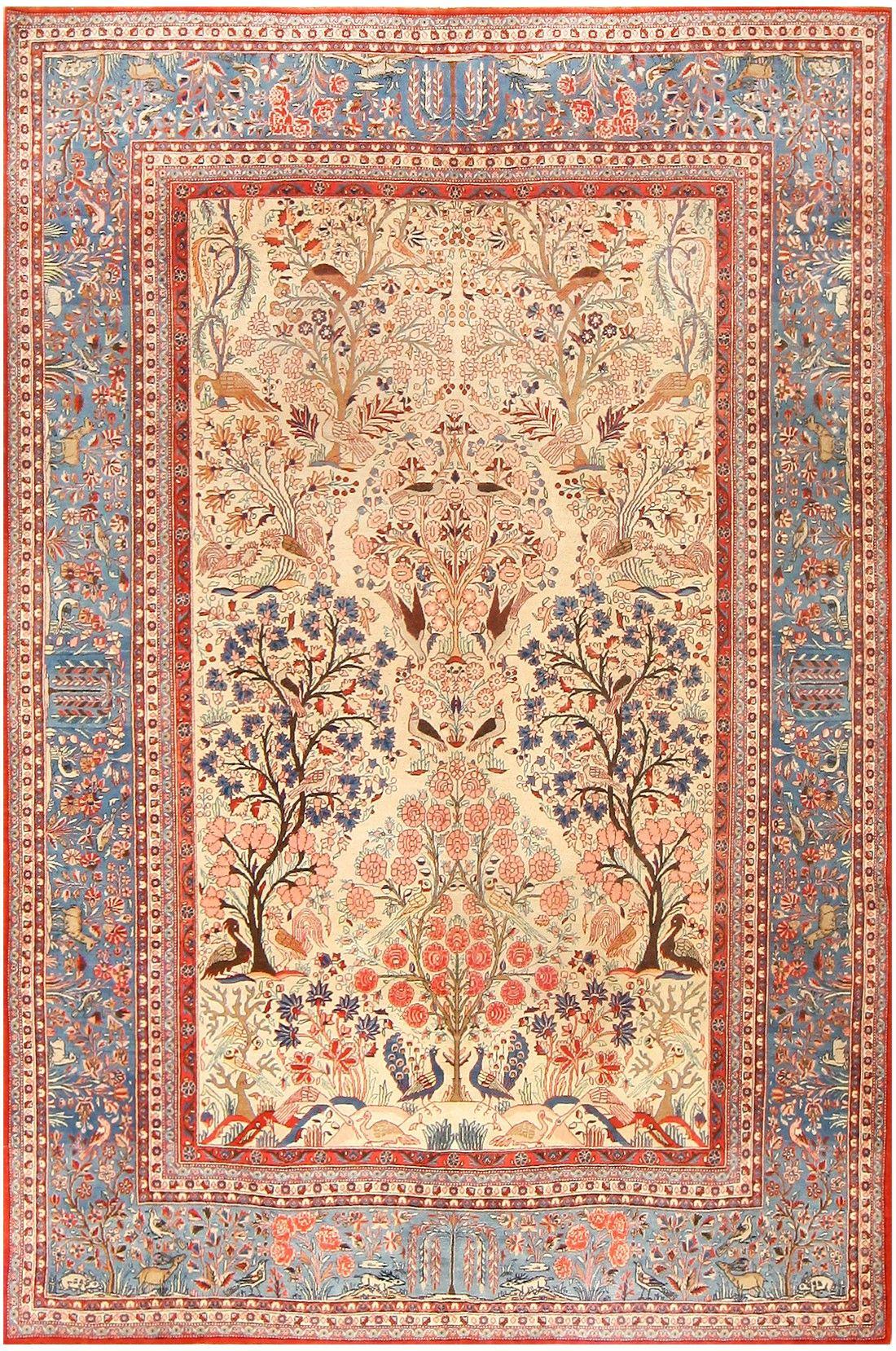 Antique Tree Of Life Design Persian Kashan Dabir Rug 48133