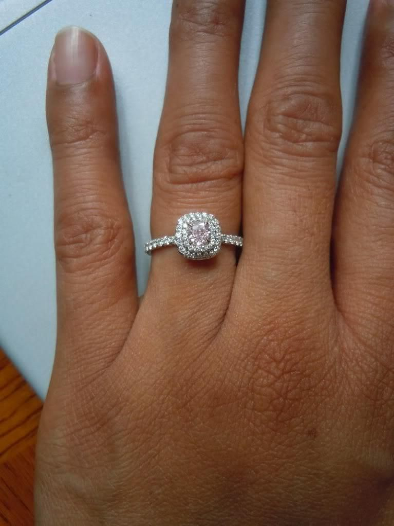 double halo engagement ring with wedding band in hand 38 wedding
