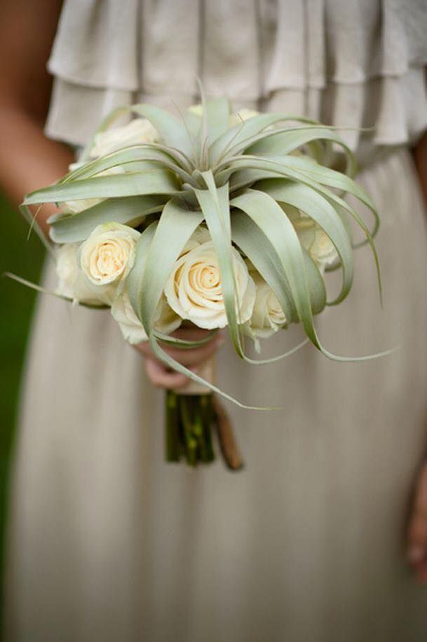 Bridal Bouquet With Tillandsia Xerographica And White Roses