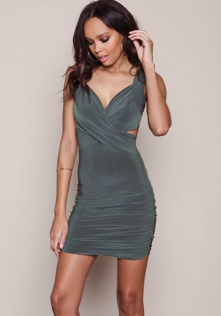 Olive Wrap Front Ruched Bodycon Dress - LoveCulture.com