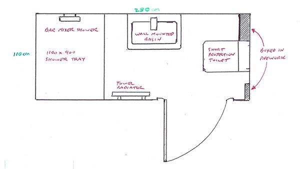 Small shower room plan with bathroom installation in leeds for Bathroom designs 3m x 2m