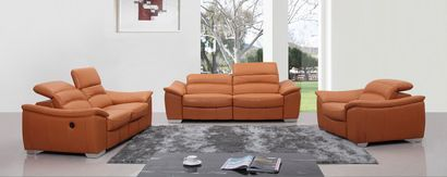 Vig Furniture Divani Casa E9034 Modern Orange Italian Leather Sofa Set w/ Recliners