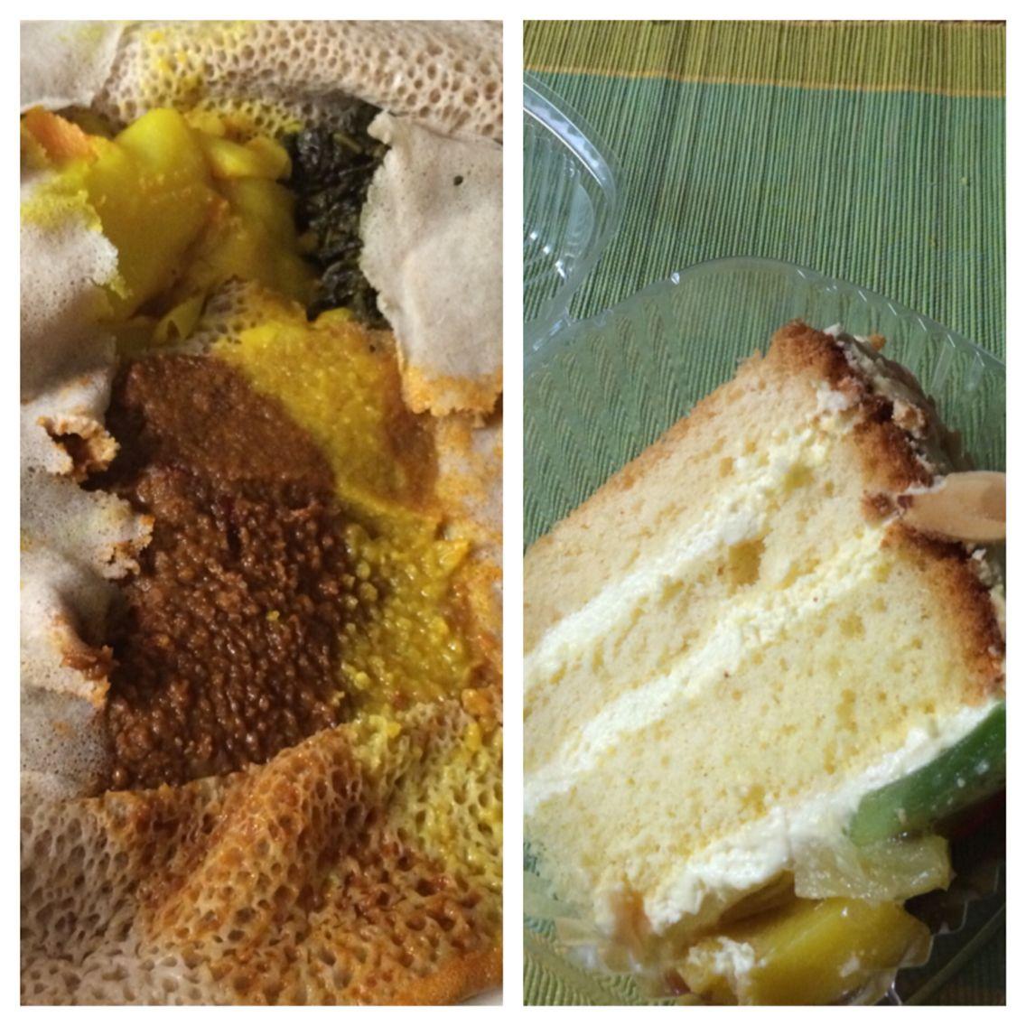 Ethiopian vegetarian combo - red lentils, chickpeas, cabbage, collard greens & fruit cake