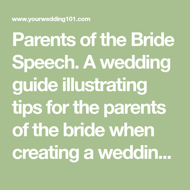 Parents Of The Bride Speech. A Wedding Guide Illustrating