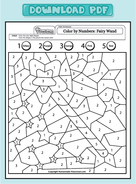Color by Number Fairy Wand | Coloring worksheets for ...