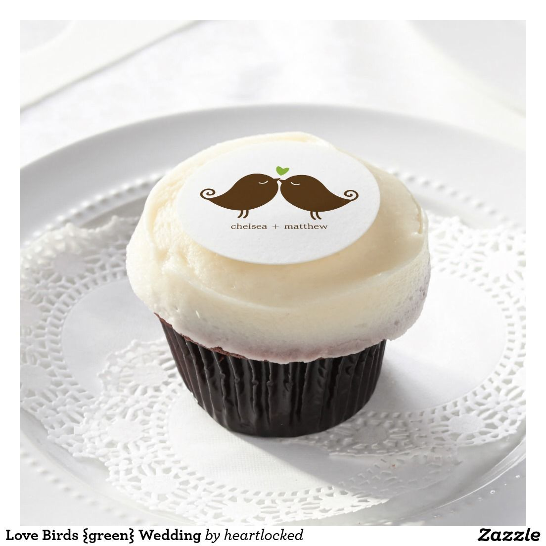 Love Birds {green} Wedding Edible Frosting Rounds