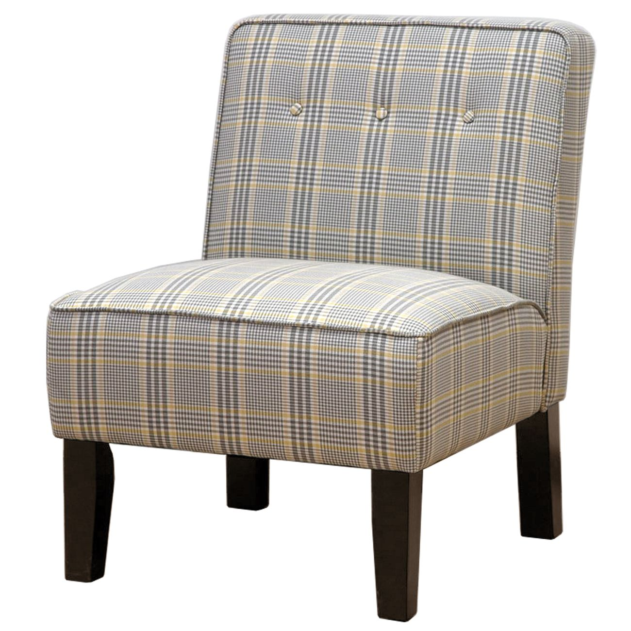 Plaid ButtonTufted Accent Chair Plaid Solid wood and Furniture