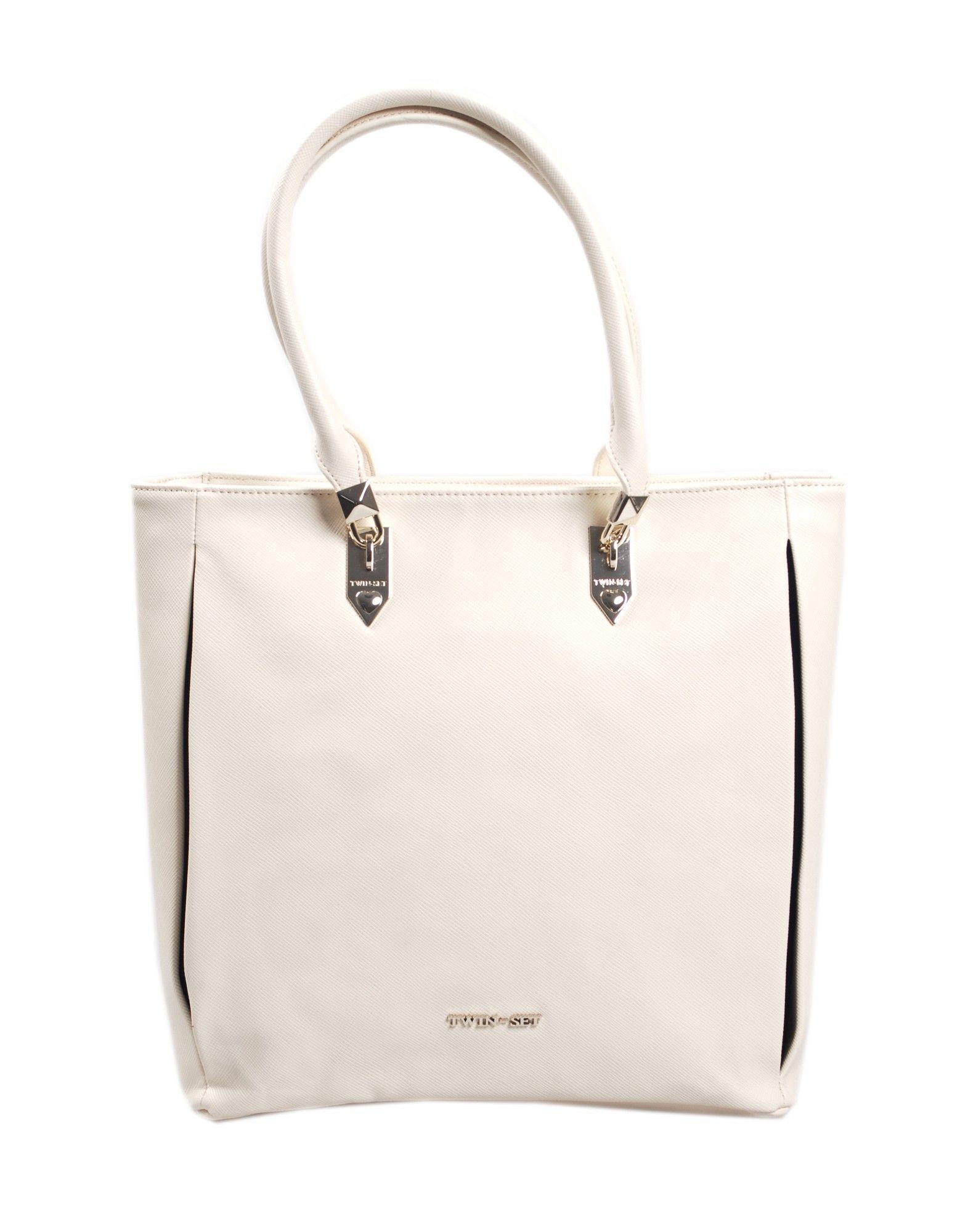Borsa shopping TWIN SET by SIMONA BARBIERI in ecopelle colore cipria, chiusura a zip, interno foderato con logo e tasca a zip, manici.