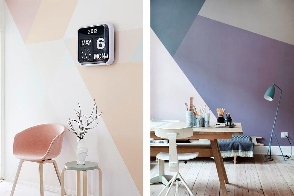20 idées déco pour relooker ses murs peinture masking tape diy makeover · peinture géométriquemotifs