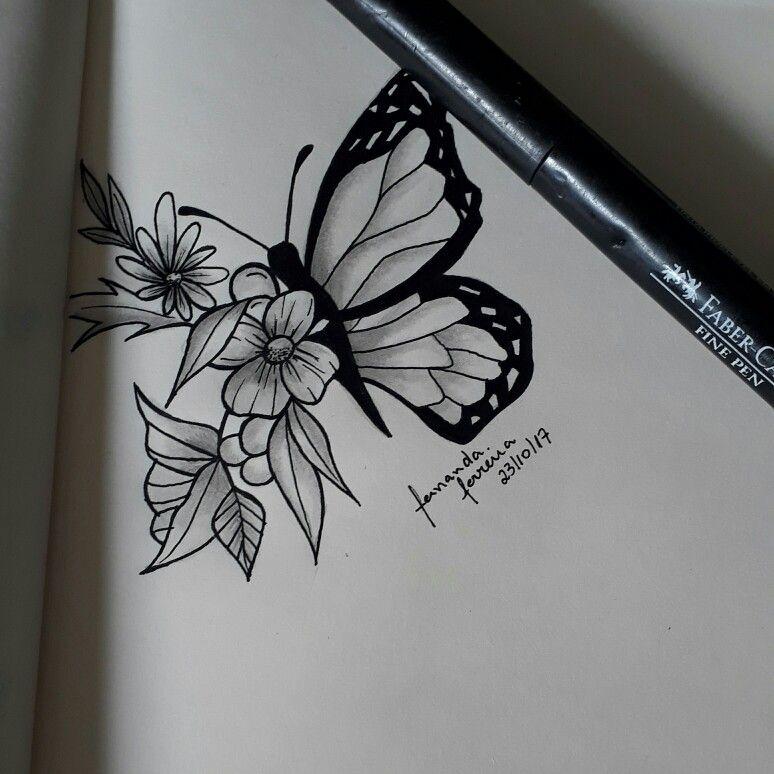 Tatuagens Borboleta Flores Bw Flores